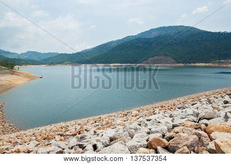 The largest dam in Penang Malaysia.The Teluk Bahang Dam stock photo