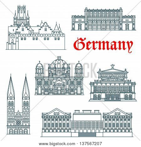 Most popular tourist attractions of german architecture icon with linear symbols of Berlin Cathedral and Alte Oper concert hall, St. Peter Cathedral and Marienburg Castle, Pergamon and Kunsthalle Museums. Travel design usage
