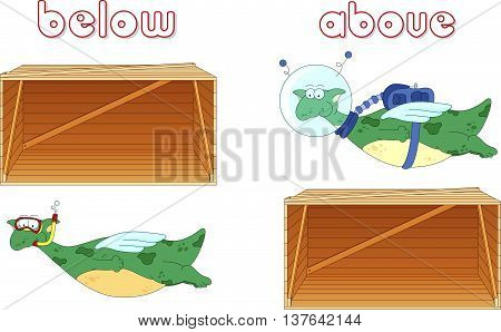 Cartoon dragon diver floats below the box and astronaut flies above the box. English grammar in pictures for students pupils and preschoolers stock photo