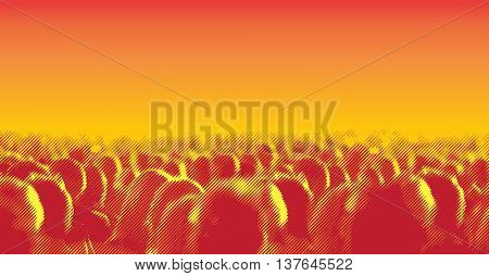 Large crowd of people watching concert or sport event. Vector illustration with halftone screen line