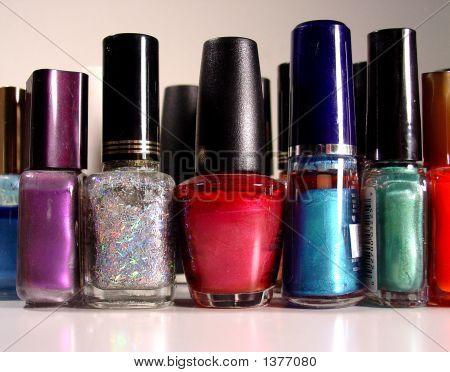 close up of nail polish nail polish bottles in a row different colored nail polish stock photo