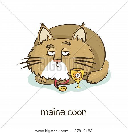 Maine coon. Cute vector cartoon cat character with medal and trophy isolated on white with breed caption stock photo