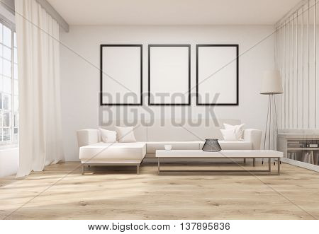 ▷ Living Room With Blank Frames photo stock
