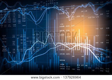 Graph of stock market data and financial with stock analysis indicator. Candle stick graph chart of stock market ,stock market data graph chart on LED display concept. stock photo