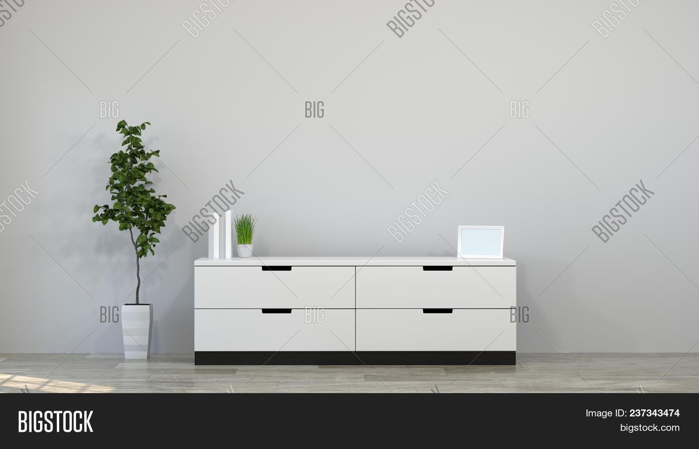 Tv Cabinet In Modern Empty Room 3d Illustration Home