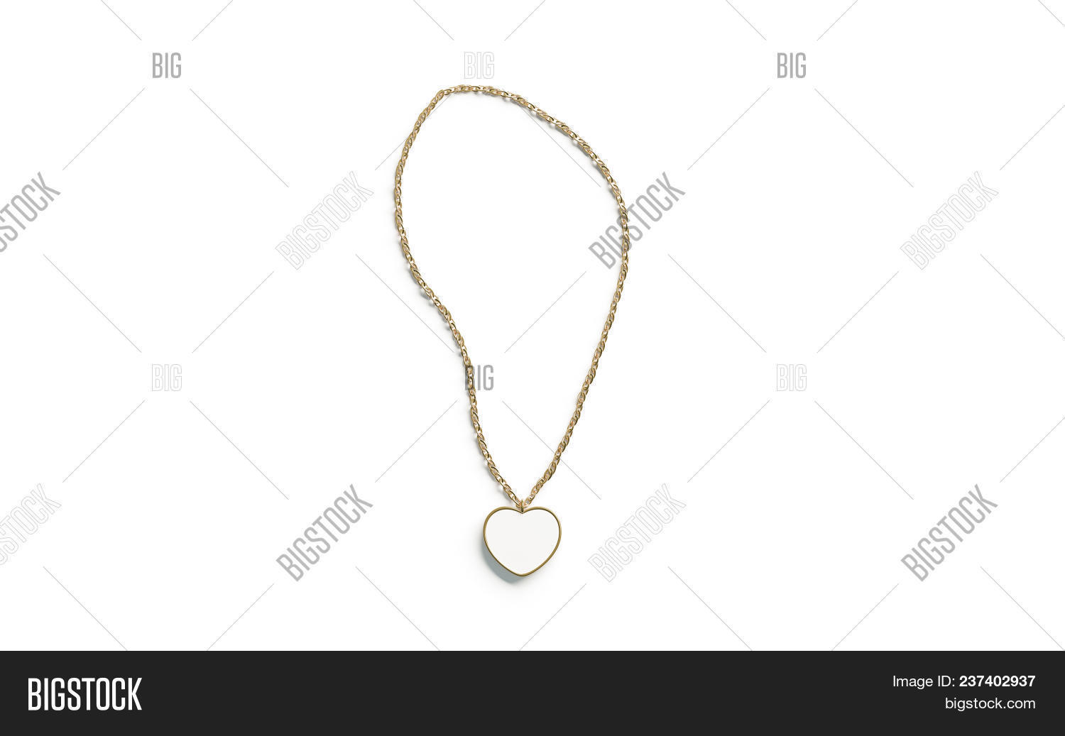 🔥 Blank White Golden Pendant Heart Mockup Top View Isolated, 3d