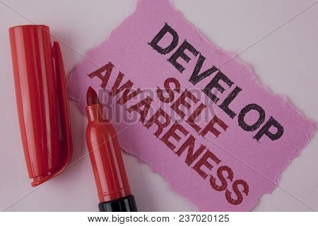 Handwriting text Develop Self Awareness. Concept meaning improve your Informations about surrounding events written Tear Pink Sticky note paper the plain background Marker next to it. stock photo