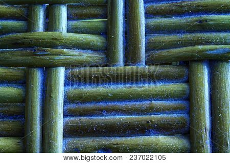 Marina grunge painted Wooden wicker texture of basketwork for background use. stock photo