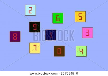 A set of colored cubes with numbers 1 2 3 4 5 6 7 8 9 0. Vector illustration stock photo