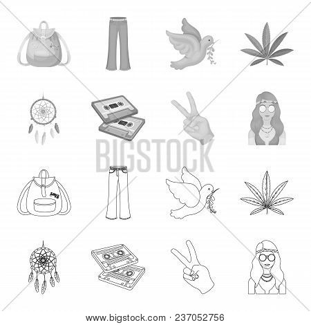 Amulet, hippie girl, freedom sign, old cassette.Hippy set collection icons in outline, monochrome style vector symbol stock illustration . stock photo