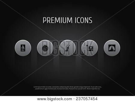 Set of 5 medical icons set. Collection of lung, splint, pilates and other elements. stock photo