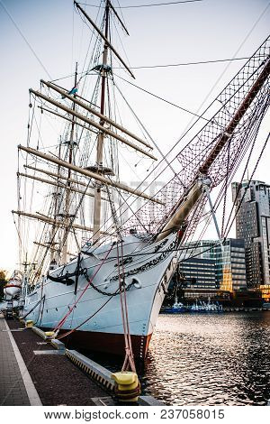 old sailing ship, frigate at anchor in the port of Gdynia, Poland stock photo