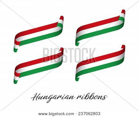 Set of four modern colored vector ribbons with Hungarian tricolor isolated on white background, flag of Hungary, Hungarian ribbons stock photo