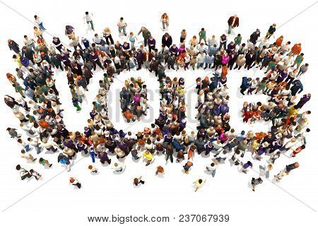 People That Vote. Large Group Of People Walking To And Forming The Shape Of The Word Text Vote On A