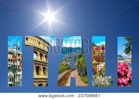 Collage of major Italian travel destinations from photos of Italy. The landscapes of Garda Lake, Venice, Capri island, of Manarola at Cinque Terre, Venice, Rome stock photo