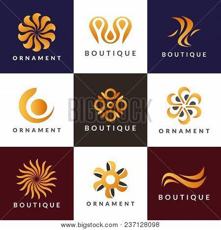 Luxury logo set. A collection of logos for interior. Decoration logo. Interior icon. Boutique logo. Fashion logo. Jewelry logo. Hotel icon. Hotel logo. Cosmetics logo. Cosmetics icon. Spa logo. stock photo