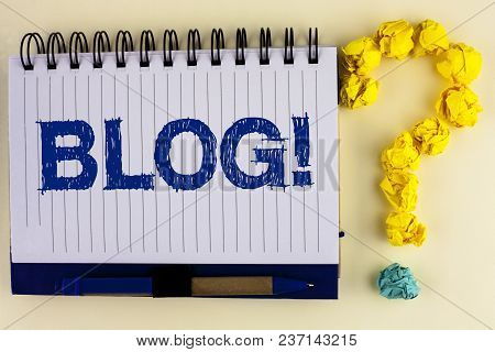 Word writing text Blog Motivational Call. Business concept for Preperation of Attractive content for blogging websites written Notebook Book the plain background Pen next to it Ask for. stock photo