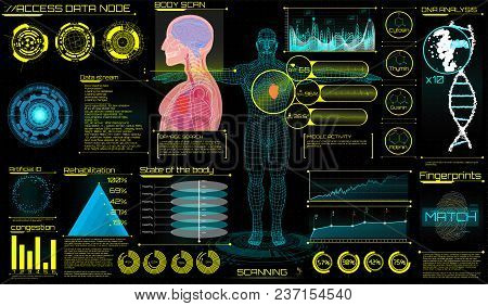 Head Up Display (HUD) UI for Medical App. Ultrasound and cardiogram. Futuristic Medical Interface, virtual graphic touch UI with illustration of Heart Scan, Human Body and Electrocardiogram. HUD UI stock photo