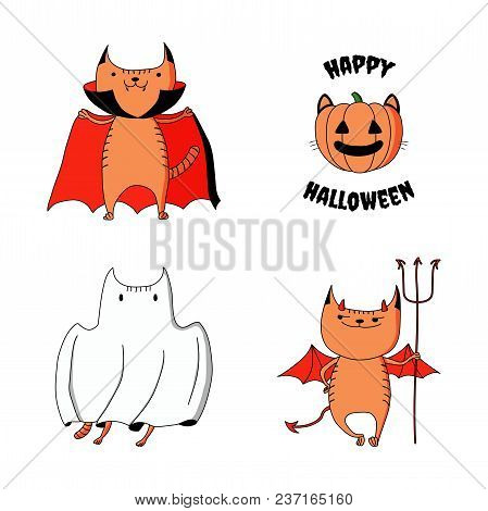 Hand drawn vector illustration of cute funny cartoon cats: ghost, devil, vampire, jack o lantern pumpkin with ears, whiskers, text. Isolated objects on white background. Design concept kids, Halloween stock photo