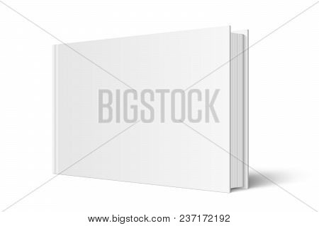 Vector mock up of standing book with white blank cover isolated. Closed horizontal hardcover book, catalog or magazine mockup on white background. 3d illustration. Diminishing perspective. stock photo