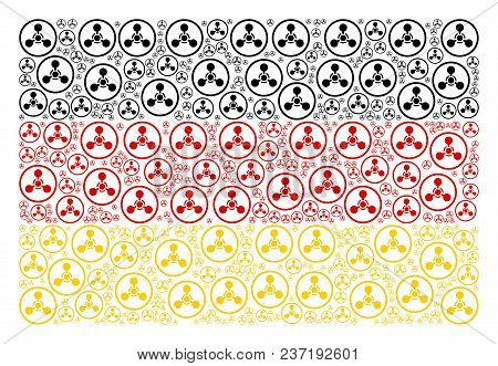 German State Flag composition created of wmd nerve agent chemical warfare icons. Vector wmd nerve agent chemical warfare icons are organized into conceptual Germany flag pattern. stock photo