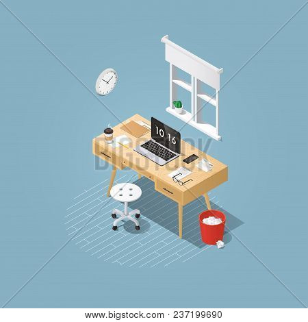 Isometric vector home office concept illustration. Workplace interior set: mid century office table, modern chair, clock, window, curtain, home plants, laptop, trash can, letters, keyboard. stock photo