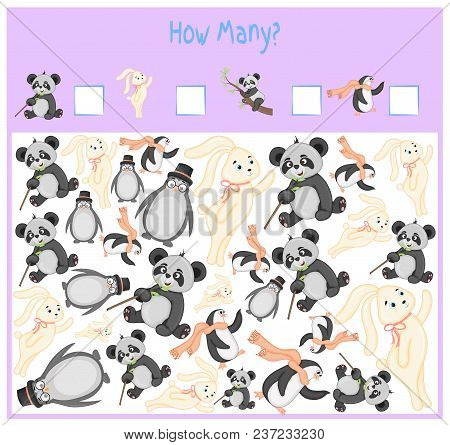 Counting game for Preschool Children. A mathematical Educational game. Count how many items and write the result. Wild and domestic animals. Nature stock photo