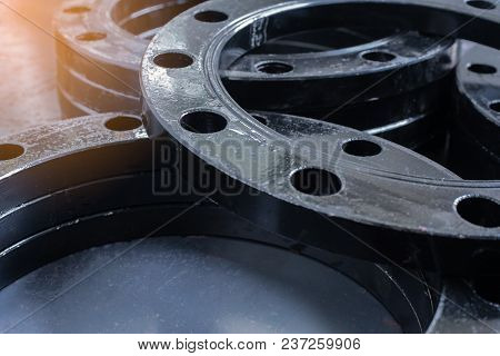 Flanges,metal flanges use to welding pipe work. stock photo