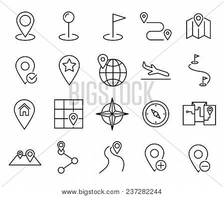 Simple Set Of Destination Related Vector Line Icons. Contains Such Icons As Direction, Location, Nav