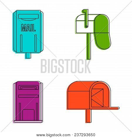 Mail box icon set. Color outline set of mail box vector icons for web design isolated on white background stock photo
