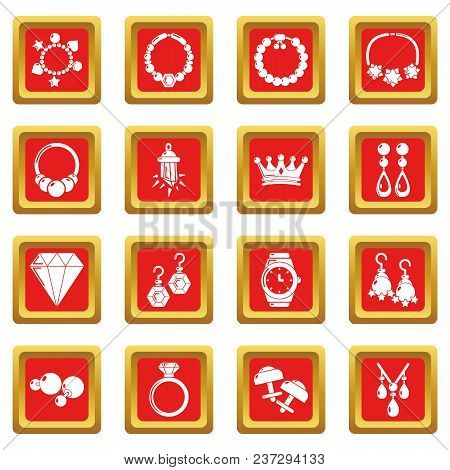 Jewelry shop icons set vector red square isolated on white background stock photo