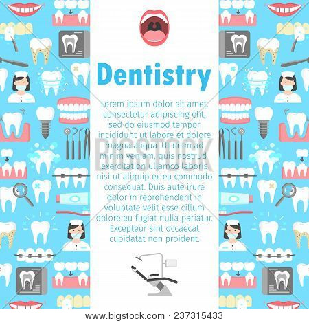 Dentistry flat icons banner with symbols of denture dental instruments dentist crown veneers implant dental bridge roentgen. Colorful template for design prints vector illustration place for text stock photo