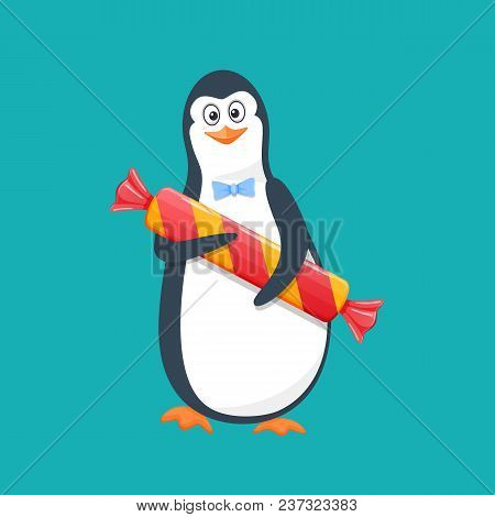 Funny penguin, Antarctic bird, with large gift candy and smile. Holiday March 8, congratulation, romance, event birthday, valentine s day, manifestation of respect, attention. Vector illustration stock photo