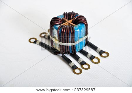 Transformer copper coil isolated on a white background stock photo
