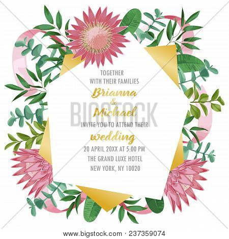 Floral wedding invitation with geometric frame, protea flowers, herb and bushes branches in watercolor style. Greenery template with text place for invite, greeting, birthday card and covers. stock photo