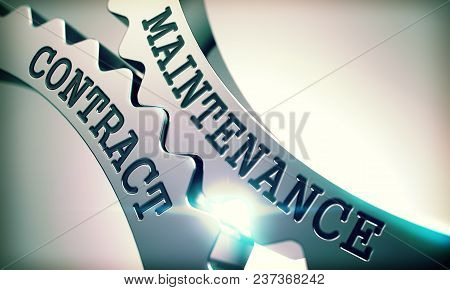 Maintenance Contract on Metallic Cogwheels, Communication Illustration with Glow Effect and Lens Flare . Metal Cog Gears with Maintenance Contract Text . 3D Illustration . stock photo