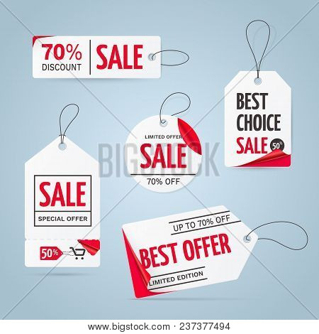 Set of realistic white price tags with curved red corners and text - Limited edition, best choice, special offer. Collection of vector sale paper labels isolated on the background. stock photo