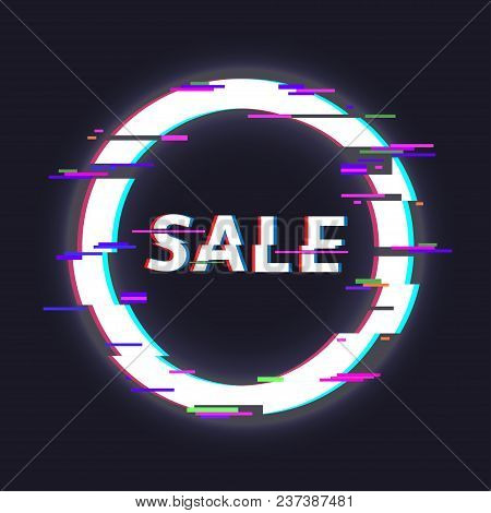 Glitched circle frame. Glitch effect, distorted round shape. Sale label stock photo