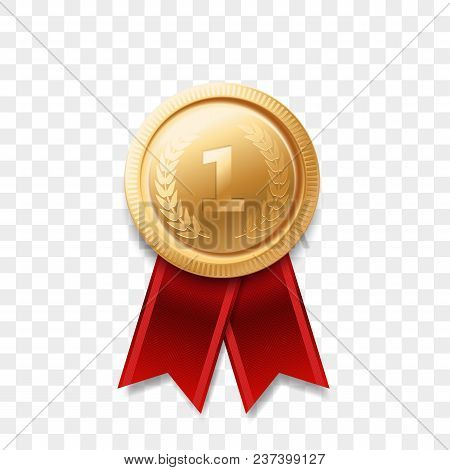 1 Winner Golden Medal Award With Ribbon Vector Realistic Icon Isolated On Transparent Background. Nu