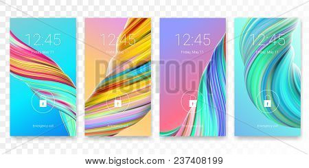 Screen lock password background template. Vector smartphone ID recognition screenlock password or lockscreen passcode access authentication with clock time display stock photo