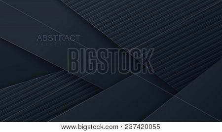 Abstract 3d background with black paper layers. Vector geometric illustration of carbon sliced and textured shapes. Graphic design element. Minimal design. Decoration for business presentation stock photo