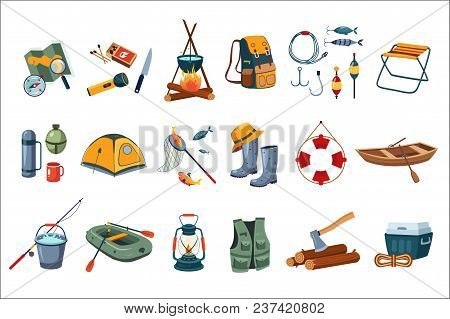 Camping icon set. Tourist equipment tent, map, compass. Items for fishing rod, hooks, boats. Fisherman s outfit. Firewood and ax. Outdoor activity Summer recreation Isolated flat vector design stock photo
