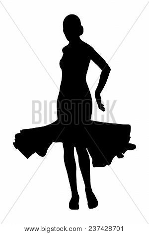 back woman dancer in ball gown black silhouette stock photo