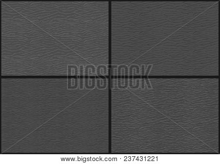 Set of four abstract seamless pattern in the form of sand dunes or water waves on grey background stock photo