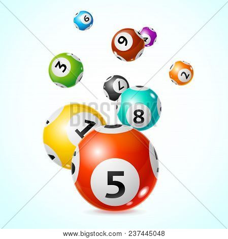 Realistic Detailed 3d Different Types Colorful Lotto Ball Fly Concept Card Background. Vector illustration of Lottery Balls stock photo