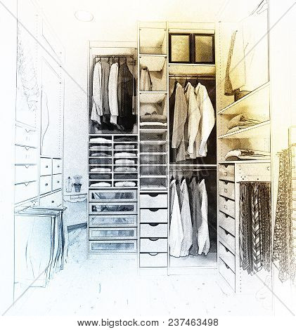 Digital Artwork of a modern dressing room with parquet floor stock photo