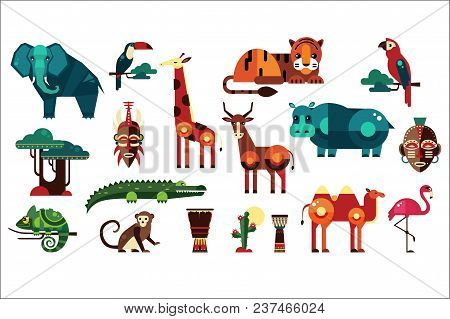 Colorful collection of different African animals, plants and drums. Wild creatures of jungle. Birds and reptiles. Ethnic drums. Icons in geometric flat style. Vector illustration isolated on white. stock photo
