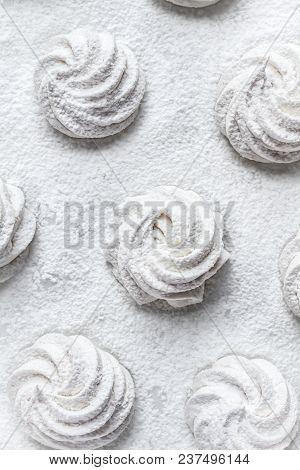 Handmade White Zefir on the White Background stock photo