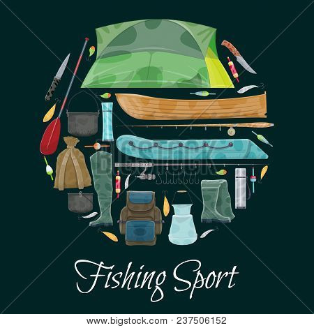 Fishing sport poster of fisherman equipment. Vector flat design of fisher tackles for fish and seafood catch of fishing rod, wader boots or boat and paddle, rucksack or tent and bowler fishing stock photo