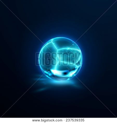 Translucent cracked crystal sphere. Vector illustration. Glossy fractured freeze ball with caustics effect. Gemstone or mineral bubble. Game art concept. Gamedev design element. Icy object stock photo